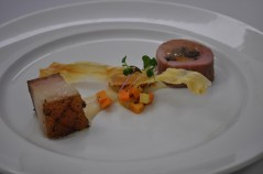 Glazed Pork Tenderloin Stuffed with Dried Fruits, Parsnip Textures, Braised Belly and Sherry/Bacon Vinaigrette