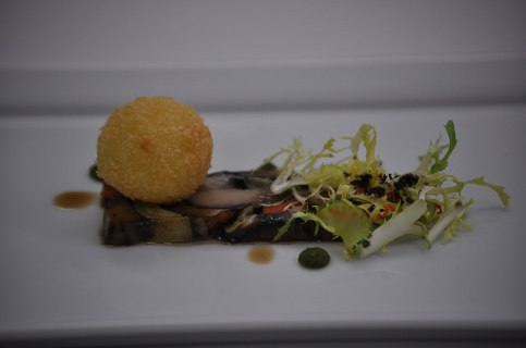 Olive-cured Wild Mushroom and Vegetable Presse with Whipped Goat Cheese Truffle, Tomato Oil and Celery Salad