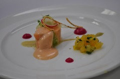 Slow-cooked Salmon with Caramelized Fennel Puree, Golden Beet Relish and Sauce Maltaise