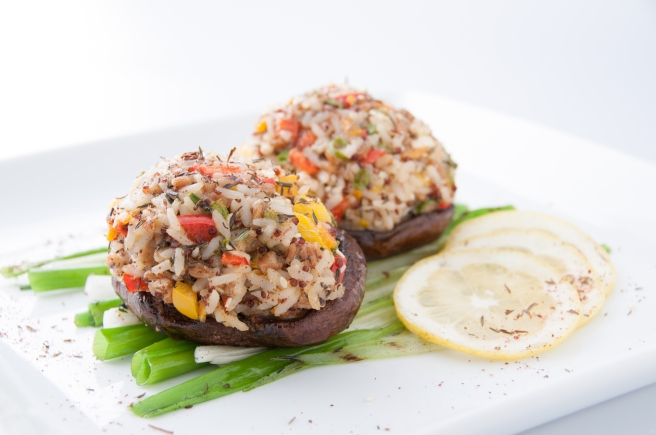 Mid-Eastern Mushroom Caps with a rice medley of sweet-potato orzo, red quinoa, wheat berries and long-grain rice, developed by InHarvest