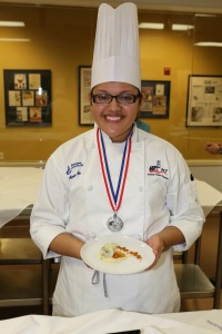 Adriana Carreon and the team's winning fish starter: flounder paupiette with fennel sauce