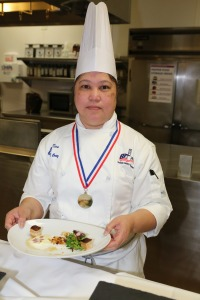 Evangeline Cruz and the team's winning mixed green salad