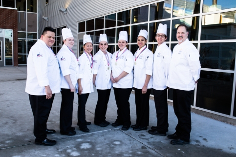 Pictured, left to right, are Randy Torres, CEC, AAC, team coach/chef instructor at Oregon Coast Culinary Institute, and student team members Kirsten Burt, Annie Sargent, Jasmine Howard, Tesia Campbell (captain), Alana Askew, Nathan Haritash (support) and Del Clark (support).