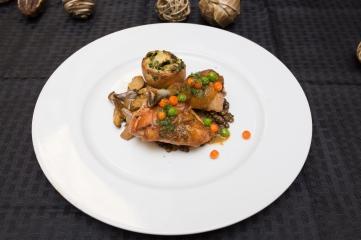 Entree dish: Poulet Sauté Saint-Lambert, lentilles au beurre, crêpes aux épinards and cèpes rossini