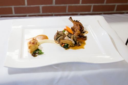 Chef Stephenson's winning dish: chicken-mushroom crépinette with braised leg lolli, apple bacon chicken bouchée, mushroom and roasted chicken pan jus, celeriac purée and vegetable medley.
