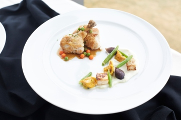 Entree - Poulet Sauté Saint-Lambert, glazed carrot pearls and green peas, chicken liver-filled ravioli, purée of cauliflower (purée à la Dubarry), green beans, roasted celeriac and roasted red onions.